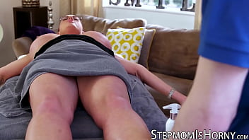 UK redhead Emma Butt riding stepson after massage