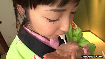 Asian Bitch In  A Kimono Sucking On His Erect  g On His Erect Prick