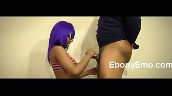 Ebony College Student Gives Handjob
