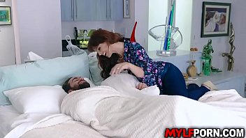 Busty redhead MILF Syren De Mer started her day by having a hot breakfast sex with her stepson Logan Pierce before he goes to school.