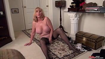 Female Phoenix Skye masturbation solo display with a hot mature maid
