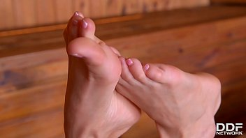 Jizzed On Toes: Watch Nancy A. Wank His Cock With Her Hot Naked Feet