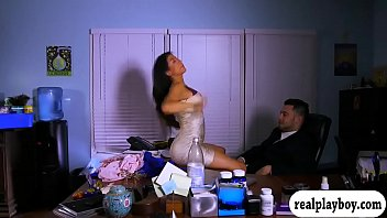 Babe sucks off and fucked on office desk