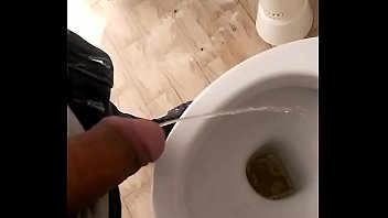 I piss in the toilet with spit and cum.