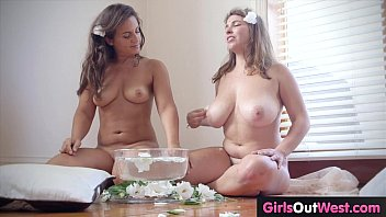 Hairy busty lesbian having sex with shaved chick