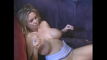 Busty nympho Hunter gets her tight pussy slammed on couch