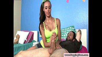 Brunette teen giving wanking job