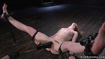 Small tits slave in device bondage toyed