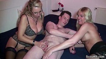 Mom and aunt help step-son with his first fuck