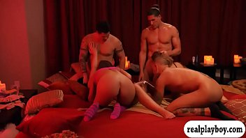 Swingers swap partners and enjoyed orgy in the red room