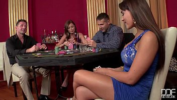 Deep throat battles 2 casino hookers get double penetrated and gag on cock