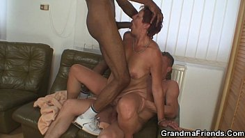 Interracial threesome with old bitch
