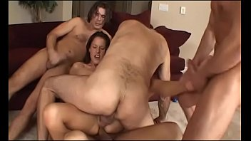 Awesome smart brunette bimbo with big boobs McKenzie Lee had warmed her arse with anal toy before she made bold to take part in gang bang action with five well stuffed fellows
