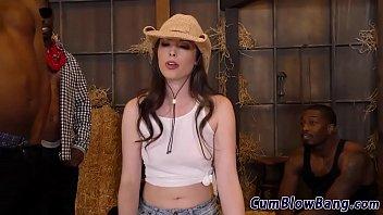 Brunette in barn sucks group black shlongs