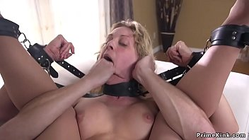 Blonde officer gagged and anal fucked