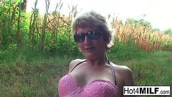 Blonde Hungarian MILF has some dirty fun outdoors
