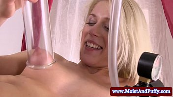 Pumping breast sex action Big taco blonde and her pussy pump