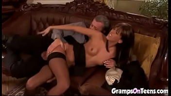 Skinny Hottie In Stockings Rides A Big Mature Cock