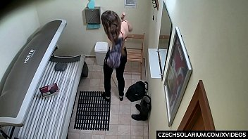 18 y/o Playing With her Pussy in Solarium