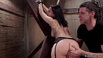 Tied trainee is butt plugged and banged