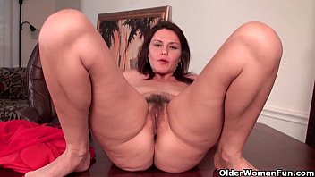 Busty aand hairy Sexy milf with big tits works her hairy pussy