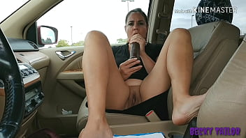 Wife stretches pussy with HUGE BBC dildo in public parking lot – Becky Tailorxxx
