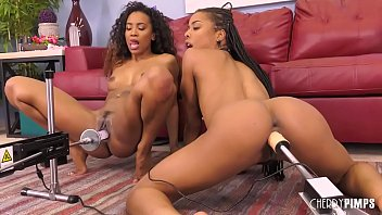 Ebony Lesbians Enjoying Oral Sex in Live Show Before Fucked by Sex Machines