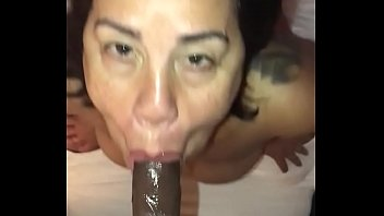 Latina milf gives sloppy bj   facial