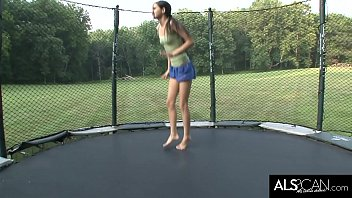 Petite Teen Jumps on Trampoline and Masturbates