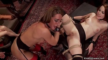 Rope bound slaves whipped and fucked