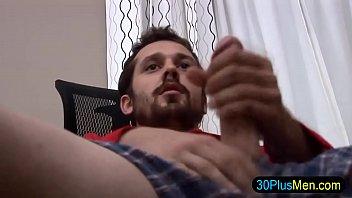Solo stud tugs his cock