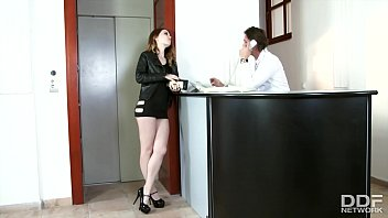 Teen escort Misha Cross bribes security with face fucking