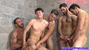 Gay bathroom orgy with horny hunks