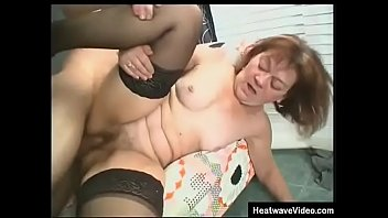 Old slut uses her mouth to make her stepson cum