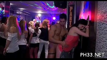 Lots of group sex on dance floor blow jobs from blondes with jism at face