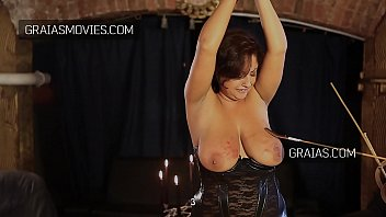 Caned breasts Large breast slave girl tortured