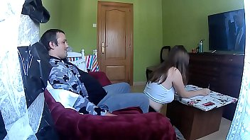 Big-titted schoolgirl has to study, she wants to give me a hard, fat dick sucking | she mounts my dick she shoves it inside | she cums inside me and I keep fucking.