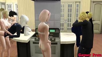 Shippuden Cap 9- Final comienza la gran orgias entre todos ella queriendo sexo sin control queriendole sacar la leche a todos los hombre anal