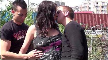 Pregnant threesome porn Cum on face of pregnant big tits star stella fox in public sex street threesome