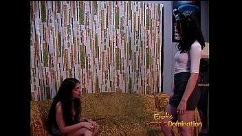 Naughty and hot BDSM lesbian session featuring two raven-haired stunners thumbnail