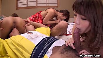 Japanese babes, Hikari and Kaede Niiyama had group sex, uncensored thumbnail