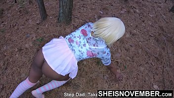 Crawl Bitch! My Grown Wife Daughter In Law Earning Her Room In My House, Petite Ebony Msnovember Crawling On Woods Ground For Daddy, Slim Booty With Wedgie Inside Her EbonyButt on Sheisnovember