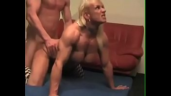 Muscled mature blonde fucked doggy style
