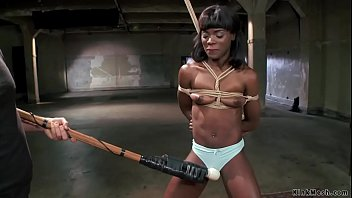Handcuffed ebony sucking huge dick