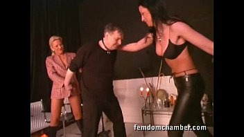 2 femdom in leather pants and boots ballbusting a man 68秒