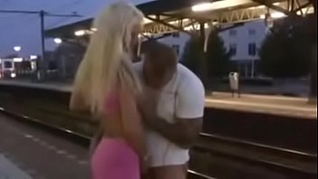 blonde getting fucked at the train station
