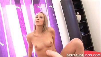 Tight blonde Jenny Simons gaped by b. dildo machine