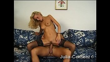 Blonde workmate fucked on the couch