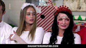 Petite Hot Blonde Teen Stepdaughter Kyler Quinn & Her Best Friend Alice Pink Swap Fuck Each Others Dad's On Christmas