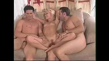 Lonely lovely Katie Gold welcomes two men to fuck her desired pink hole
